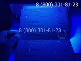 Диплом техникума 2004-2006 годов, старого образца (заполненный), приложение под УФ лампой