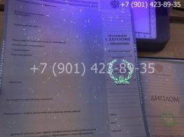 Диплом магистра 2004-2009 годов, старого образца, приложение под УФ лампой
