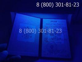 Диплом ПТУ 1995-2005 годов, старого образца (заполненный), титульный лист под УФ лампой