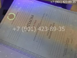 Диплом специалиста 2011-2013 годов, старого образца, титульный лист под УФ лампой