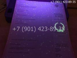 Диплом техникума 2004-2006 годов, старого образца, приложение под УФ лампой
