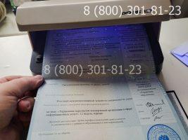 Диплом магистра 2011-2013 годов с заполнением, приложение под УФ лампой