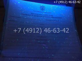 Диплом ПТУ 2008-2014 годов, образец, приложение под УФ лампой