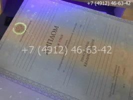 Диплом специалиста 2011-2013 годов, образец, титульный лист под УФ лампой