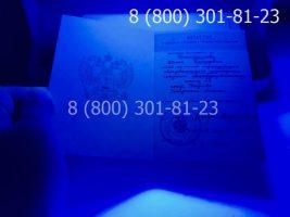 Аттестат 11 класс 1994-2006 годов с заполнением, титульный лист под УФ лампой