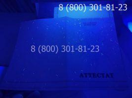 Аттестат 11 класс 2010-2013 годов, с заполнением, титульный лист под УФ лампой-1