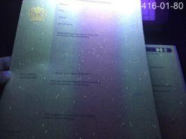 Диплом специалиста 2014-2020 годов, образец, приложение под УФ лампой