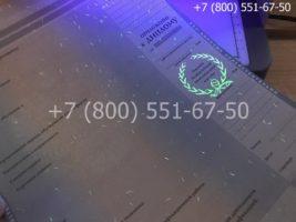 Диплом специалиста 1997-2002 годов, старого образца, приложение под УФ лампой