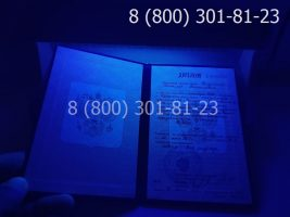 Диплом ПТУ 1995-2005 годов с заполнением, титульный лист под УФ лампой
