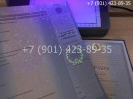 Диплом магистра 2011-2013 годов, старого образца, приложение под УФ лампой